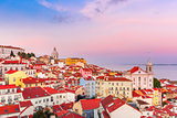 Alfama at scenic sunset, Lisbon, Portugal