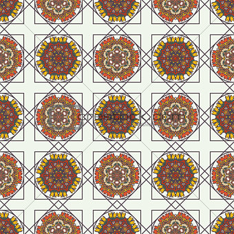 Abstract background with ethnic ornament pattern.