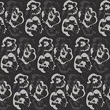 Seamless outline dark floral pattern