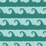 Cartoon waves seamless pattern