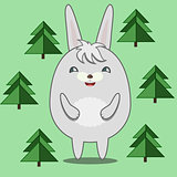 Cute Round Rabbit in Fir Forest