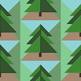 Seamless Pattern with Firs, Ground and Sky