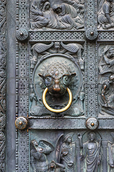 Ancient door of Bremen Cathedral, Germany.