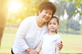 Grandmother and granddaughter portrait.