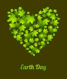 Earth Day ecology green leaves vector background