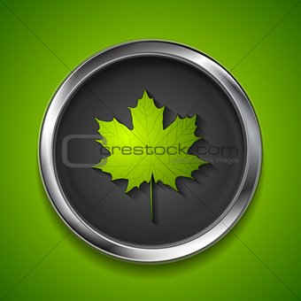 Green summer maple leaf on metal button