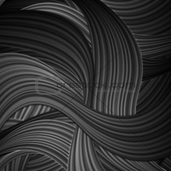 Black striped waves abstract pattern design