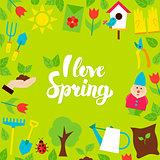 I Love Spring Lettering Postcard