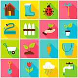 Spring Gardening Colorful Icons