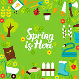 Spring is Here Lettering Postcard