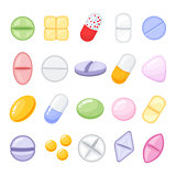 Set of different isolated, colorful pills, cartoon style vector illustration