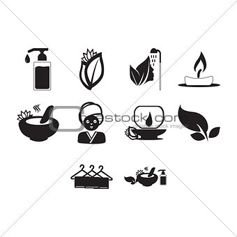 Flat black spa icon set