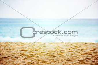 Beach landscape with sand texture close-up