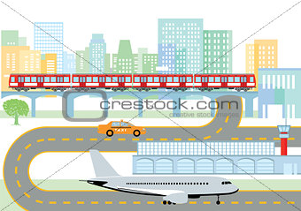 City with airport and metro, Infografik