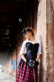 Model dressed in victorian or steampunk style