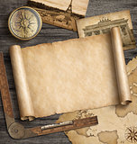 Old map background with compass. Adventure and travel concept. 3d illustration.