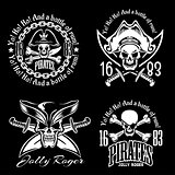 Pirates emblem set with pirate spirit flying dutch pirate bay pirates adventures descriptions vector illustration