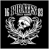 Pirates Jolly Roger symbol. Vector poster of skull with pirate eye patch, crossed bones and swords or sabers. Black flag for entertainment party decor, alcohol drink bar or pub emblem or sign