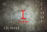 Isolated blackboard with periodic table, Iodine