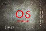 Isolated blackboard with periodic table, Osmium