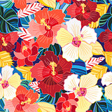 Seamless pattern of hibiscuses