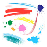 Vector set of colorful brush strokes