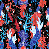 Seamless graphic pattern of seaweed