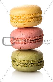 Three caramel macarons