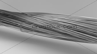 3d illustration of twisting metal rods.