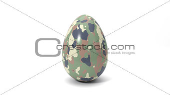 3d illustration of simple easter egg. painted with camouflage paint.