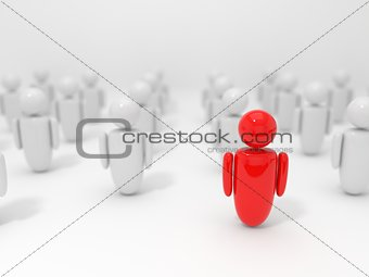 3d illustration of symbolic human figures and selected one.