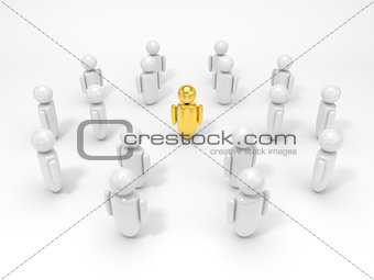 3d illustration of symbolic human figures surrounded one golden figure.
