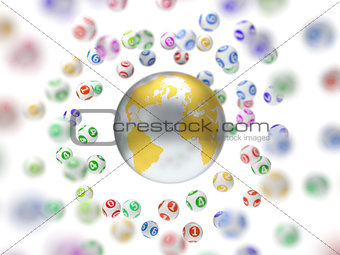 3d illustration of lottery balls and world