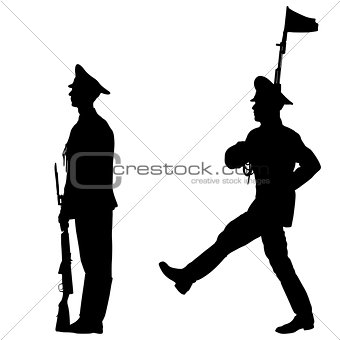 Black set silhouette soldier is marching with arms on parade