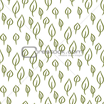 Foliage line seamless vector pattern.