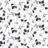 Leaves and dogrose seamless vector pattern.