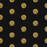 Gold foil shimmer glitter polkadot seamless pattern.