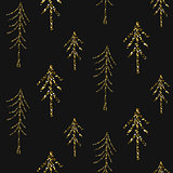 Gold foil glitter line stripes seamless pattern.