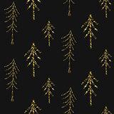 Gold foil glitter line stripes seamless pattern.
