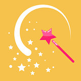 Magic wand stars flat icon cartoon illustration.
