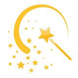 Magic wand stars flat icon cartoon illustration.