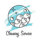 Cleaning service icon badge. Soap bubbles icon.