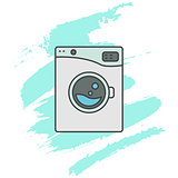 Washing machine line icon sign.