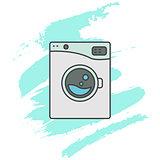 Washing machine line icon sign.