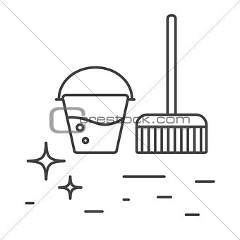 Cleaning tools bucket and mop line icons.