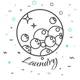 Laundry service logo badge. Soap bubbles icon.