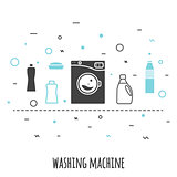 Washing machine in flat line style. Outline vector icon wash with chemical supplies banner.