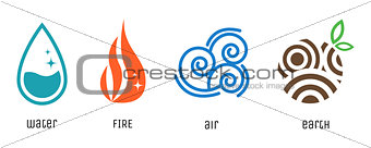 Four elements flat style symbols. Water, fire, air, earth signs. Vector icons.