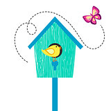 Blue cartoon bird house with birdie on perch and butterfly.