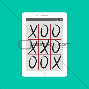 Tic-tac-toe game mobile app concept vector illustration.